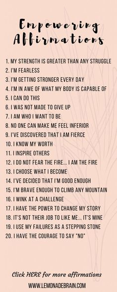 Positive Affirmations: The Ultimate List of Daily Mantras Positive affirmations release you from anxiety, negativity, guilt, fear, and pain. Positive Affirmations: The Ultimate List of Daily Mantras Positive affirma. Affirmations Positives, Morning Affirmations, Daily Affirmations, Short Positive Affirmations, Healthy Affirmations, Affirmations Success, Motivational Affirmations, Affirmations For Women, The Words