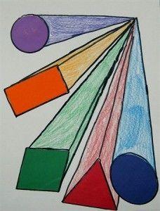 Perspective for younger children ART. Elementary art and geometry. Kids Art Class, Art For Kids, Art Children, 2nd Grade Art, Perspective Art, Art Curriculum, Math Art, Geometry Art, Shape Art