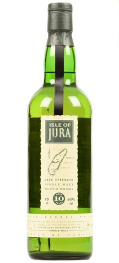 Official bottling of Isle of Jura 10 yo Cask Strength Single Malt Scotch whisky from 90s.