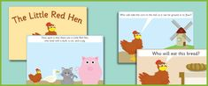 Little Red Hen Story Sequencing Cards - A set of image and word cards featuring scenes from The Little Red Hen, ideal to use for story sequencing purposes.