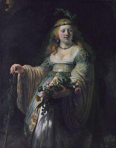 "Rembrandt, ""Saskia van Uylenburgh in Arcadian Costume"", 1635, OIl on canvas, 123.5 cm x 97.5 cm, in National Gallery"
