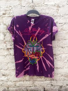Tattoo Tshirt Bleach Tie Dye Ed Hardy Upcycle Shirt in Purple Unisex shirt in Mens size M - Music Festival FREE Jewellery Item with EVERY purchase in June