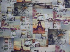 Digitale stoffen Parijs fiets scooter love Hearts. | Stoffenhuis Anja, Goedkope Stoffen Online