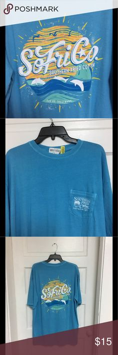 Southern Fried Cotton Tee Shirt NWOT New without tags Southern Fried Cotton tee shirt xl in blue. Bought this year at Dillard's. My home is smoke free and has one little, clean dog. Southern Fried Cotton Shirts Tees - Short Sleeve