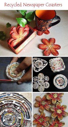 Super news paper art diy ideas paper crafts Recycled Magazine Crafts, Recycled Paper Crafts, Recycled Magazines, Cardboard Crafts, Recycled Crafts, Diy And Crafts, Decor Crafts, Diy Love, Rolled Paper Art