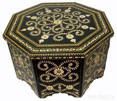 80x80 Cm Antik Look Orient Teetisch Tisch Couchtisch Schwarz U0026 Weiß Coffee  Table