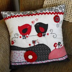 Love Birds   Contemporary Patchwork Pillow / by sarahjthomas, $72.00