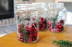 Decoração do Natal bagas vermelhas potes de geléia tannenzweige