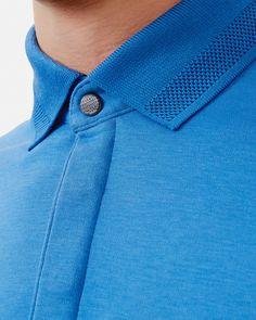 Flat knit collar cotton polo shirt - Blue | Tops & T-shirts | Ted Baker UK