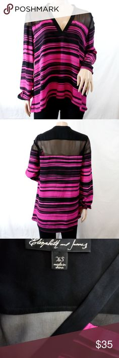 """Elizabeth and James Sheer Shoulder Blouse Gorgeous Elizabeth and James long sleeve blouse with silk chiffon shoulder panel, v-neck, and stripe fuchsia/black stripe print on silk crepe de chine.  This is a fabulous top for both parties and work.  Wear with black leggings, skinny jeans or pants, and a simple necklace.  Great condition; like new.  100% silk.  Length from back neck 23.5"""", across bust 18.75"""". Elizabeth and James Tops Blouses"""