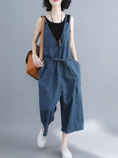 Weekend saga overall dungarees, casual style cotton dungarees are slightly soft & thick to wear in Spring. Overalls Fashion, Overalls Women, Denim Overalls, Dungarees Outfits, Jeans Jumpsuit, Romper Pants, Ladies Jumpsuit, Ropa Hip Hop, Printed Denim