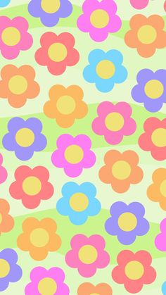 Phone Wallpaper. 'Bright Flower with wave' design