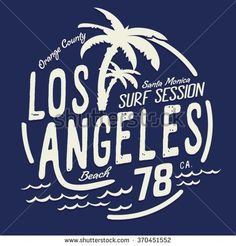 Los Angeles surf typography, t-shirt graphics, vectors