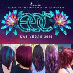 EDC Las Vegas Hair! Lindsey created these amazing, vivid hair colors, purple, blue, pink, rainbow, unicorn and pastel hair colors. #EDC #LasVegas @ModeSalonLv Vivid Hair Color, Hair Color And Cut, Hair Colors, Vegas Hair, Edc Las Vegas, Pastel Hair, Purple, Pink, Blue
