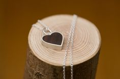wood and silver heart pendant by williamwhite on Etsy