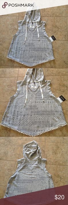 🐩🐩🐩Kensie Top🐩🐩🐩 🐩🐩🐩🐩Really cute hooded sleeveless Kensie top. In a gray and white pattern. It also have little pom poms at the bottom. Made from 70% polyester, 13% rayon, and 17% cotton. Can be worn for everyday wear, lounging, or sleepwear. Very cute and versatile.🐩🐩🐩🐩 Kensie Tops