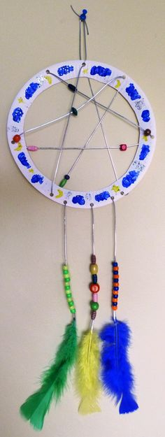 paper plate dream catcher for Native American party