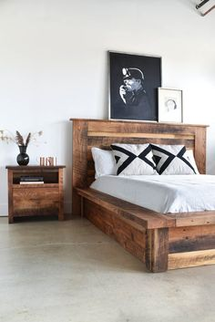 Warm up your bedroom with our rustic looking reclaimed wood platform bed made from old growth oak, maple, and pine for your bedroom. Unique in nature each bed shows off its own history with knots, color variations, and natural imperfections making it a on Diy Furniture Projects, Pallet Furniture, Home Furniture, Bedroom Furniture, Design Furniture, Furniture Stores, Furniture Makeover, Modern Furniture, Outdoor Furniture