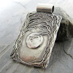 Artisan Fine Silver Pendant Moon and Trees by SilverWishes on Etsy, $135.00