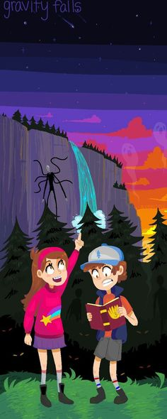 Gravity Falls and Slender (Credit to the artist)