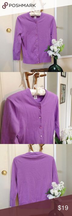 J. CREW Purple 3/4 Length Cardigan Color is slightly lighter than shown in pics. Buttons are a 'pearly' pinkish-purple. Great condition. J. Crew Sweaters Cardigans