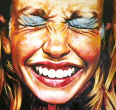 Close Up Laugh Make Up 135/145 cm Oil on canvas, Thomas Saliot
