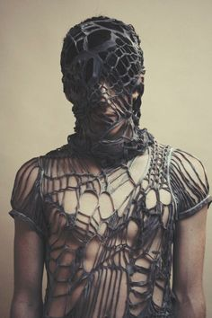 Is it to hide deformity, scars, stains? Or is it to mask his glorious beauty? A pet. Eiko Ishioka, Future Fashion, Avant Garde, Fashion Art, Mad Max Fashion, Dark Fashion, Fashion Design, Mens Fashion, Bodypainting