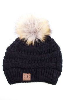 Black Beanie with Pom Pom, Style Lust Shop. 100% Acrylic and 100% perfect for a fall fashion statement.