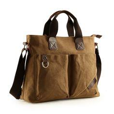 Coffee Brown Canvas Briefcase Purse Luxury Casual Business 13 Inch Laptop  Bag Mitoshop Vogue Applique Zipper a701b4fecbb