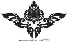 Floral giant face with floral wing vector illustrations, images, tattoos, stickers, patterns. Southeast Asia Art Design