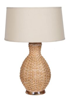 One Light Beige Linen Shade Natural Table Lamp