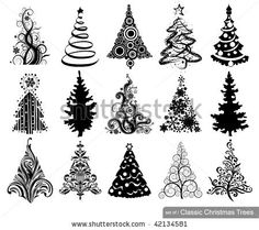 Set of Classic Christmas Trees. 15 designs in one file. To see similar sets visit my gallery by Anastacia Zalevska, via ShutterStock