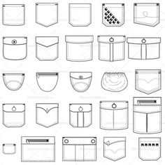 A set of 25 assorted vector pocket illustrations to be used on Shirts, Pants and Outerwear. It features a variety of shapes like squared, rounded and angled. Al