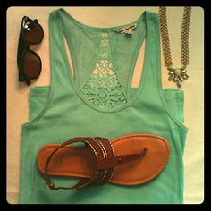 American Eagle ribbed tank Aqua, racer back, lace insert in back, fabulous Classic tank!! American Eagle Outfitters Tops Tank Tops