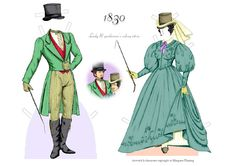 A fashionable couple of the 1830s   Gabi's Paper Dolls