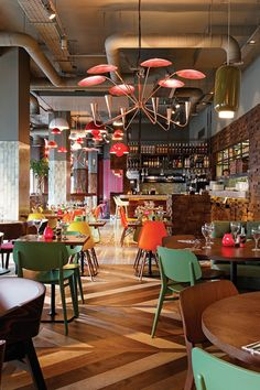 Chevron Pattern | 3-Color Wood Look Flooring | Las Iguanas in London | Designed by B3 Designers
