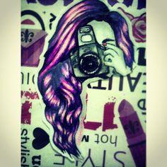 Fin. #MyArtwork #Art #pink #violet #camera #saycheese (June 3, 2014) June 3rd, Artworks, Sketches, Drawings, Pink, Painting, Art Pieces, Painting Art, Doodles