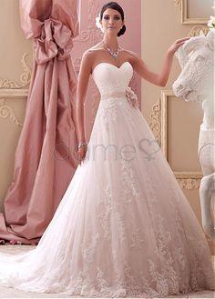 Spitze A Linie Satin Herz-Ausschnitt Spitze bodenlanges aufgeblähtes Brautkleider 136.48€