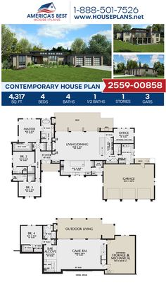 A lovely Contemporary home design, Plan 2559-00858 outlines 4,317 sq. ft., 4 bedrooms, 4.5 bathrooms, a kitchen island, an open floor plan, a home office, and a media room. #contemporaryhome #onestoryhome #architecture #houseplans #housedesign #homedesign #homedesigns #architecturalplans #newconstruction #floorplans #dreamhome #dreamhouseplans #abhouseplans #besthouseplans #newhome #newhouse #homesweethome #buildingahome #buildahome #residentialplans #residentialhome Best House Plans, Dream House Plans, House Floor Plans, My Dream Home, Small House Layout, House Layouts, Building Plans, Building A House, Small Floor Plans