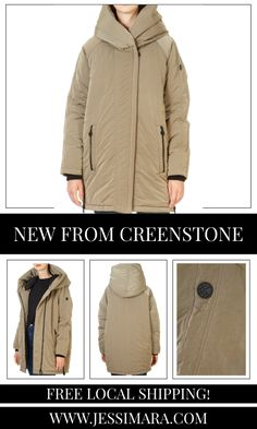 This is the 'Diana' Smokey Taupe Coat by stunning brand Creenstone. This gorgeous piece features a large hood, a central double zipper fastening, and side zip pockets. This is the perfect piece to carry you into the colder season! Military Jacket, Diana, Taupe, Shop Now, Raincoat, Pockets, Zipper, Clothing, Shopping