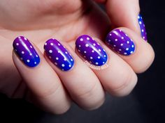 Blurple Syrup Gradient with Polka Dots (and a Bonus Manicure) (Chalkboard Nails) Dotting Tool Designs, Nail Art Designs, Polka Dot Nails, Blue Nails, Polka Dots, Chalkboard Nails, Nails For Kids, Nail Art Blog, Trendy Nails