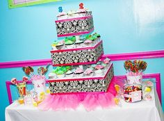 damask cupcake stand with a tutu