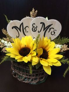 Rustic Sunflower Mr. & Mrs. Wedding Cake Topper by FloralsAndSpice