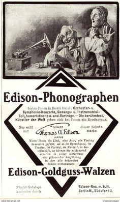 Original-Werbung/ Anzeige 1907 - EDISON PHONOGRAPHEN - Ca. 90 X 150 Mm - Werbung