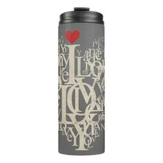 Modern Abstract Heart Love Thermal Tumbler