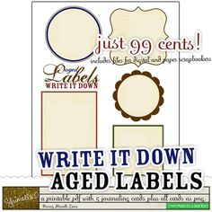 Write it Down :: Aged Labels by Shimelle Laine - Two Peas in a Bucket