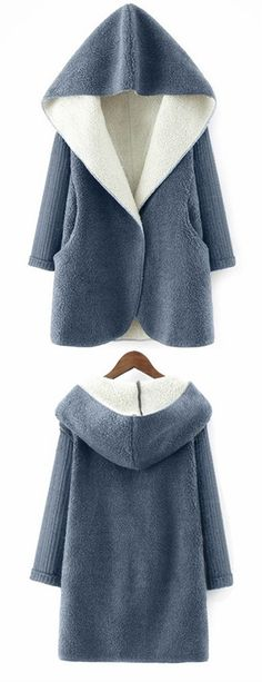 $29.99 Hooded Fluffy Fleece Coat With Knit Sleeve