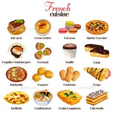 Buy French Cuisine Icons by artisticco on GraphicRiver. A vector illustration of French cuisine icon sets. Vector illustration, zip archive contain eps 10 and high resolutio. Cute Food, Yummy Food, Food Vocabulary, Food Sketch, Quiche Lorraine, Food Facts, Food Illustrations, Aesthetic Food, Food Cravings