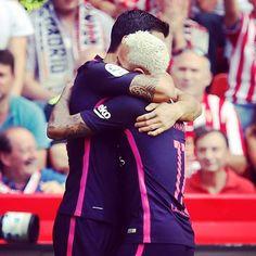 @neymarjr + @luissuarez9 =⚽️⚽️⚽️ vs Sporting #FCBarcelona #SportingFCB #Football