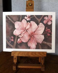 cherry blossom, art print, pink flower, wall art, watercolor flowers. $15.00, via Etsy.